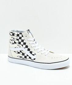4c838be1432b Vans Sk8-Hi Checkerboard Flame White Skate Shoes