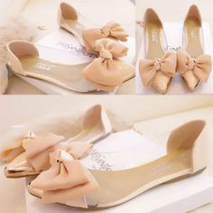 Women Flat Shoes Transparent Pointy Toe/Metallic Cusp Bowknot Flat Loafers Shoes
