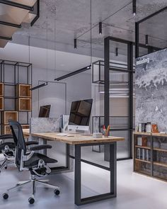 Brilliant Industrial Office Design Ideas is part of Industrial office design - To most of us, interior design is simply something to do with making a room look nice Large windows are […] Modern Office Decor, Office Interior Design, Home Office Decor, Office Interiors, Office Ideas, Office Designs, Design Studio Office, Office Furniture, Decorating Office Spaces