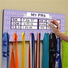 Dry Erase Hooked On Medals Hanger My PRs Marathon Silhouette | Running Medal Hangers | Running Medal Displays | Medal Displays for Runners