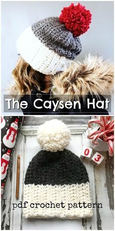The Caysen Hat is a super easy, chunky crocheted hat pattern for beginners! Love… The Caysen Hat is a super easy, chunky crocheted hat pattern for beginners! Love this gorgeous and warm beanie pattern! Perfect for a quick last minute handmade gift Crochet Adult Hat, Crochet Beanie Pattern, Crochet Mittens, Diy Crochet, Crochet Baby, Crochet Stitches, Quick Crochet Gifts, Easy Crochet Hat Patterns, Chunky Crochet Hat