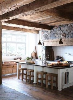 Tess Grace saved to Country kitchen interior. N thinks ceiling should be different though. 12 Awesome Rustic Kitchen designs you should copy for your kitchen area Interior Design Kitchen, Kitchen Decor, Kitchen Rustic, Kitchen Ideas, Nice Kitchen, Awesome Kitchen, Rustic Kitchens, Cozy Kitchen, Wooden Kitchen