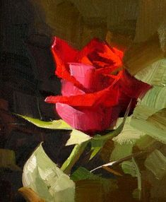 """""""Red Rose 3 --- Sold"""" - Original Fine Art for Sale - © Qiang Huang"""