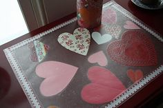 Valentine's DIY placement with my toddler