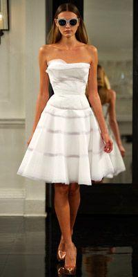 Victoria Beckham - white strapless dress