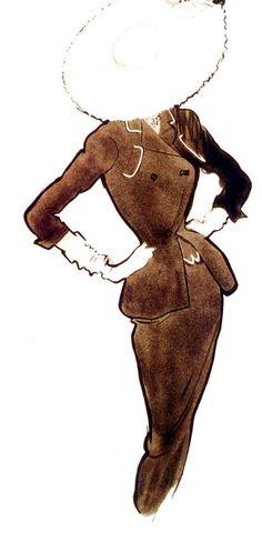 René Gruau - 1953 -  Pierre Balmain - L'Officiel - Fashion illustration