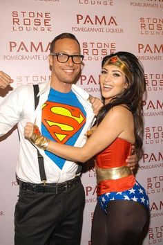couple halloween costumes -superman and Wonder Woman Check out these awesome couple Halloween costumes that you should be rocking this Halloween. We also fill you in on each superhero's abilities and strengths.