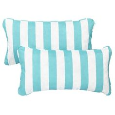 Aqua Stripe Corded 12 X 24 Inch Indoor/ Outdoor Lumbar Pillows (Set Of 2) ,  Blue (Fabric), Outdoor Cushion