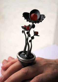 Oxidized-Texturized Sterling Silver Sculpture Ring. Orange Carnelians. One of a Kind. BOTANICA Sculpture Ring. Handmade by Maria Goti Joyas