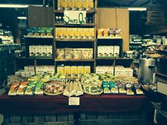Winter soups and stocks display