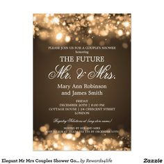 Elegant Mr Mrs Couples Shower Gold Sparkle Lights 5x7 Paper Invitation Card