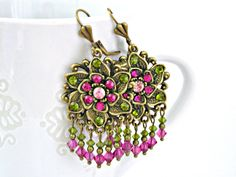 Olive green and fuchsia color Swarovski crystals earrings by TyssHandmadeJewelry, $28.90