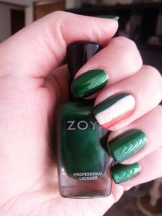 Luck of the Irish nail look featuring Zoya Nail Polish in Holly, Snow White & Gwin via Facebook