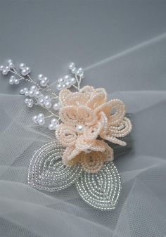 Pink French Beaded Flower Cluster Hair Accessory for Brides and Bridesmaids, Handmade Bridal Headpiece