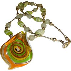 Vintage Beaded Necklace with Swirled Murano Glass Pendant