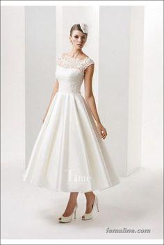 111 elegant tea length wedding dresses vintage (40)