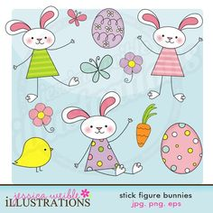 Stick Figure Bunnies Cute Digital Clipart for by JWIllustrations, $5.00