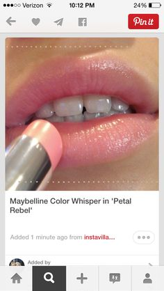 Maybelline Color Whisper in Petal Rebel-- If I ever chose to wear lipstick, this colour would be it. That actually looks natural. Do they sell Maybelline cosmetics here I wonder? All Things Beauty, Beauty Make Up, Hair Beauty, Kiss Makeup, Eye Makeup, Hair Makeup, Witch Makeup, Clown Makeup, Halloween Makeup