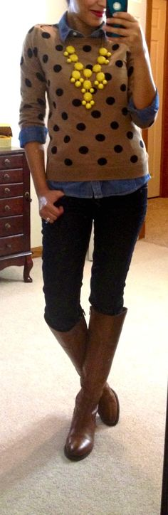 Old Navy chambray shirt + polka dot sweater, Express jeans, Etienne Aigner riding boots.