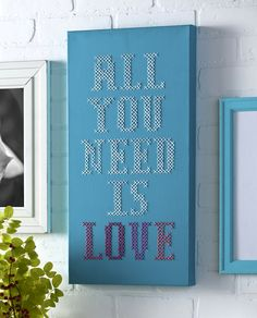 Oversized cross stitch on a ready made canvas takes all the hard work out of stretching your own!