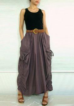Lagenlook+Skirts | Lagenlook Hot Maxi Skirt Unique Long Skirt Big by idea2wear, $49.50
