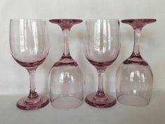 Pink Wine Glasses Pink Barware Shabby Style Bar by DotnBettys