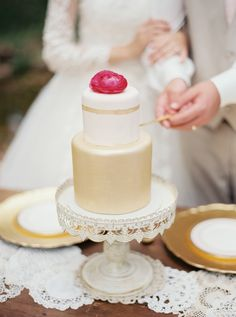 Read More: http://www.stylemepretty.com/2015/01/06/vintage-gold-blush-wedding-inspiration/