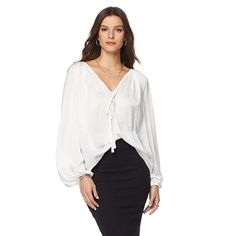 Daisy Fuentes Peasant Blouse with Tie -