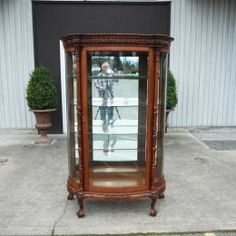Antique leadlight mirror back half round oak display for Chinese antique furniture melbourne