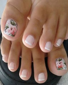 French pedicure with accent floral nail art. French pedicure with accent floral nail art. Pink Toe Nails, Pretty Toe Nails, Cute Toe Nails, Feet Nails, Toe Nail Art, My Nails, Flower Toe Nails, Acrylic Toe Nails, Colorful Nails