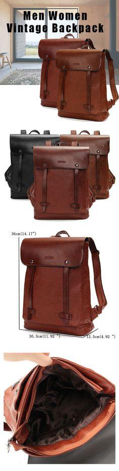 US$28.52#Men Women Vintage Backpack PU Leather Laptop bags School Bag Shoulder Bags