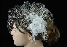 Bridal Birdcage Netting Veil with Off White Feathers Fascinator Flower CT1566