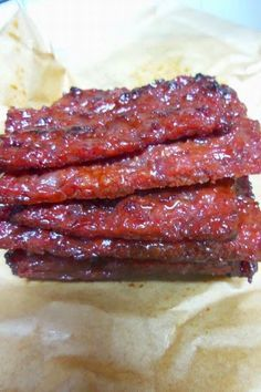 Pork jerky or Bakkwa (肉乾)is popular in Singapore and Malaysia where it is usually eaten during Chinese New Year. Last year I made a batch o. Smoked Pork Jerky Recipe, Ground Pork Jerky Recipe, Pork Jerky Recipe Dehydrator, Korean Pork Jerky Recipe, Jerky Recipes, Meat Recipes, Asian Recipes, Cooking Recipes, Chinese Recipes