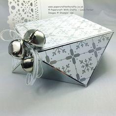 """Envelope Punch Board Faceted Gift Box (Diamant Box): Ausgangsgröße 7"""" x 7"""", stanzen + falzen bei 3,5"""" --> weiter s. Video-Anleitung"""