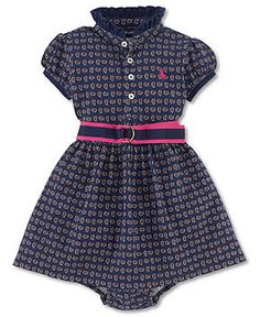 Ralph Lauren Baby Girls Dress, Baby Girls Printed Dress - Kids Newborn Shop  - Macy\u0027s