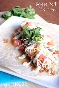 Sweet Pork Tacos Slow Cooker Recipe by Crazy Little Projects