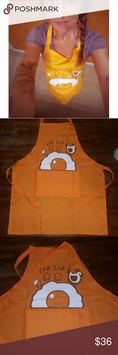 🐥Exclusive Piyopiyo Apron🐤 July 2017 Doki Doki Crate Wearable!  Authentic! From Japan 🖤 Brand new! So cute! Piyopiyo exclusive apron! Only tried on for modeling.  Bright orange with white and brown detail. Piyopiyo Other