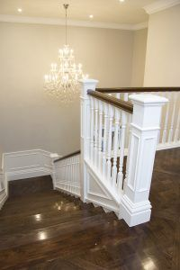 Intrim provided timber mouldings to create a classic hamptons style interior including skirting, architraves & mouldings to complete this flawless interior. Timber Staircase, Modern Staircase, Stair Railing, Staircase Design, Entry Stairs, House Stairs, Hamptons Style Homes, The Hamptons, Interior Stairs