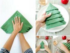 Quoi de mieux que d'épater vos invités avec de magnifiques sapin de Noël réalisés (et pliés) à partir de serviettes en papier ?