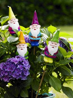 Garden Gnomes! These garden gnomes I like! But why are they candles? I think this looks a bit dangerous also.