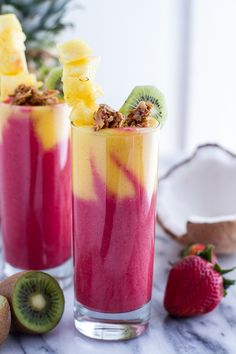 This tropical fruit smoothie is chock full of raspberries, strawberries, kiwi & mango.