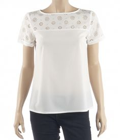 Women's plain blouse, short sleeves, boat neckline, laser cut insert on the yoke with a loose A-line finish.