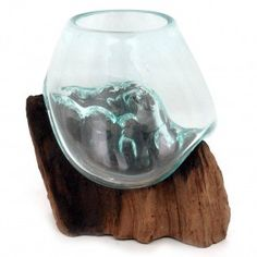Small Teak and Blown Glass Vase Sculpture