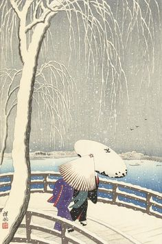 Japanese Art Print Snow on Willow Bridge Ueno by