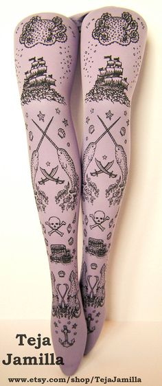 Pirate Printed Tights Sailor Tattoo Small Medium Black Pearl on Lavender Lilac Pastel Purple Women Octopus Narwhal Squid. $25.65, via Etsy.