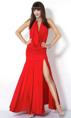 Ruched Front Slit Embellished Neck Line Long High Draped Natural Red Sexy Evening Dress #red #gown #redgown