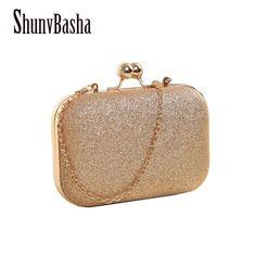 ShunvBasha Hot Sellers Woman Evening bag Gold Glittered Clutch bags Wallet  Wedding Handbags Party Banquet girls bf412babff6c