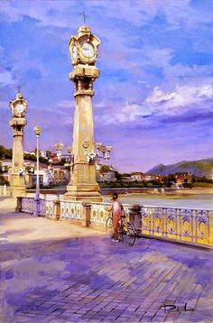 San Sebastian La Concha beach // by Ricardo Sanz , Spain Spanish Painters, Spanish Artists, Bilbao, Monuments, San Sebastian Spain, Pintura Exterior, Art Watercolor, Watercolor Landscape, Spanish Royal Family