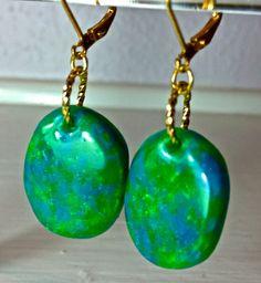 "LadyflowersbySusan... polymer clay green & blue ""opal"" earrings"