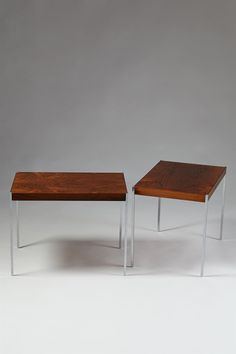östen + uno kristiansson for luxus rosewood + brushed steel tables | 1960s | #vintage #1960s #home